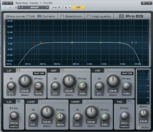 FIG. 2: PreSonus' ProEQ plug-in for Studio One provides five fully parametric bands plus a high-cut filter and a low-cut filter. The low- and high-frequency bands are shelving filters.