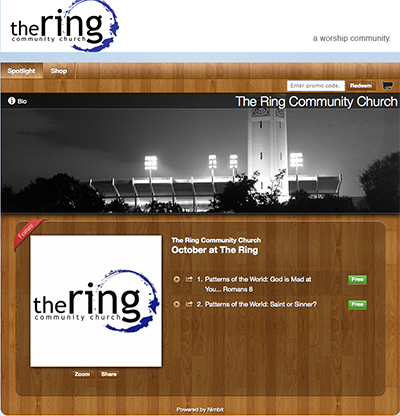 A Nimbit store for the Ring Community Church.