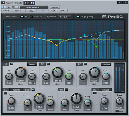 PreSonus Studio One's ProEQ Native Effects plug-in