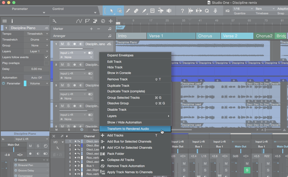 Studio One's Transform to Rendered Audio function allows you to apply plugin-processing without impacting CPU overhead