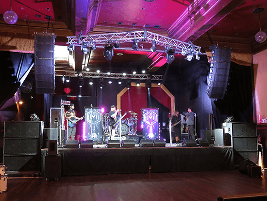 The stage setup at the Bossanova Ballroom. Click for larger image.