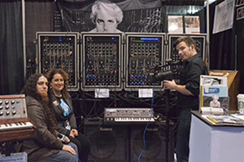 Cave (L) and Ryan (R) visit with Michelle Moog-Koussa  during last year's NAMM Webcast