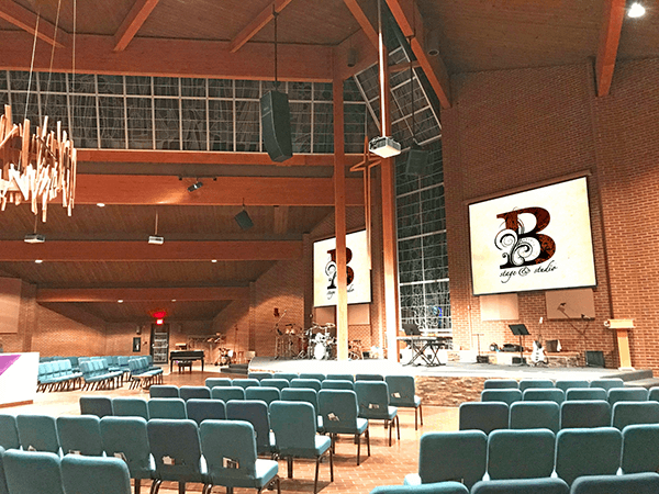Christ the King Vineyard Church's sanctuary. Click for larger image.