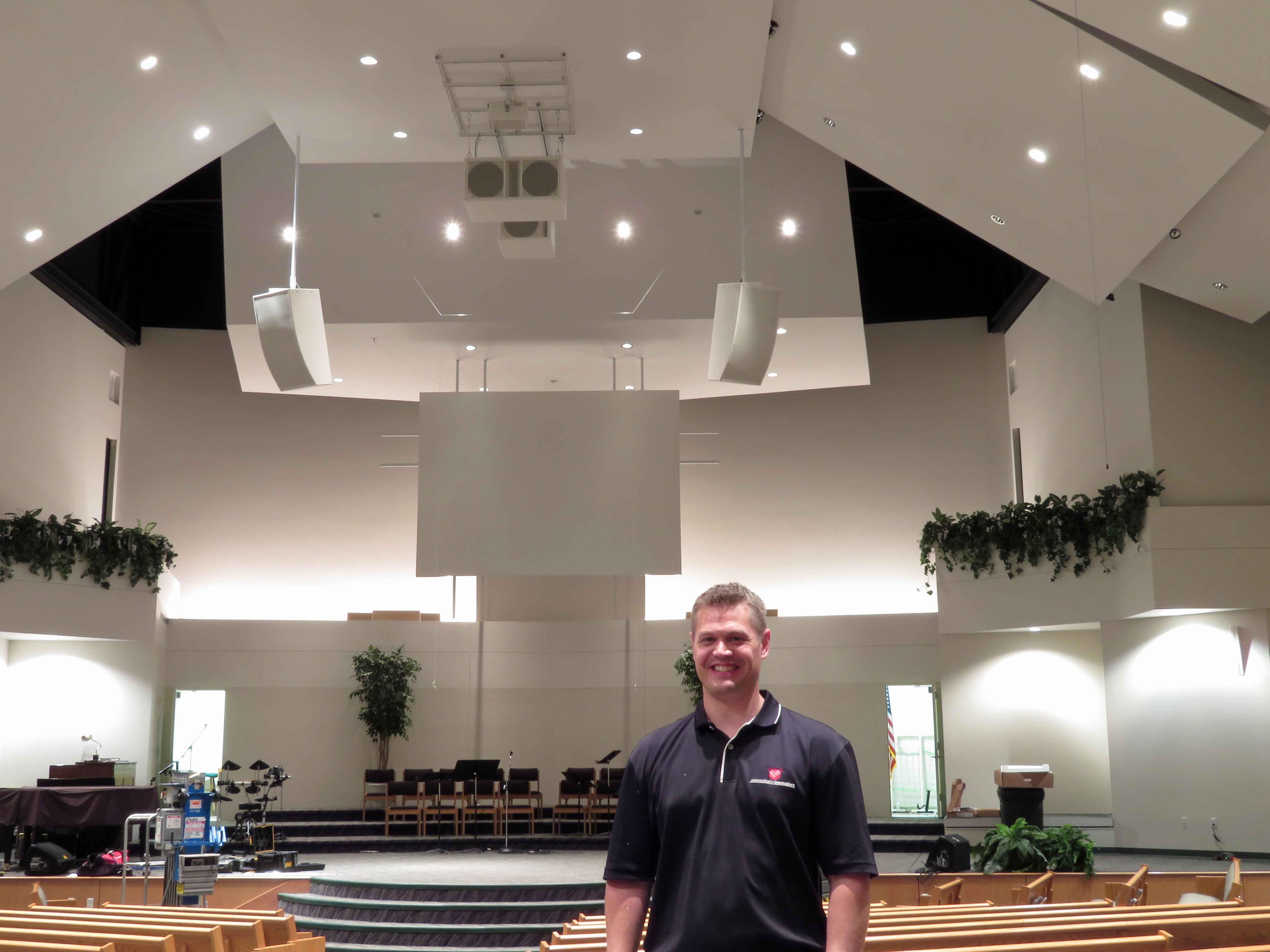 Eric Bishop in the CrossRoad Baptist Church sanctuary.