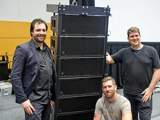 The Essential Audio Group team (from left to right): John Wilson, Jesse Laxon (kneeling), and Michael Beringer.