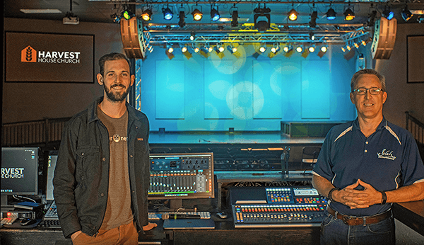 Harvest House Technical Director Brett Queen and Selah Media Productions' President Buck Roberts. Click for larger image.