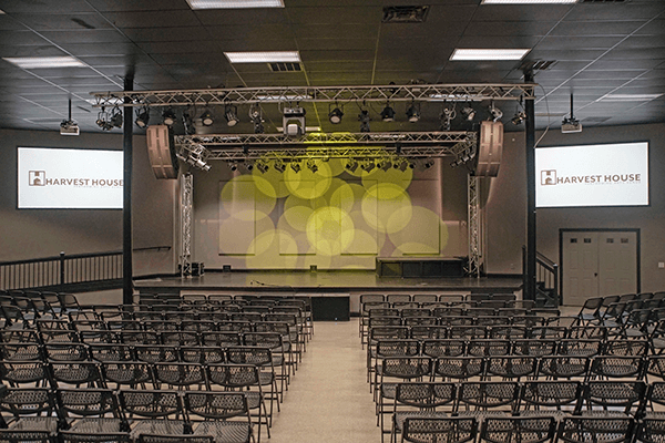 The Harvest House Church auditorium. Click for larger image.