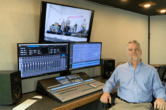Jeff Anderson, owner of Mobile Tech Space, Inc., with his PreSonus StudioLive 32 Series III console. Click for larger image.