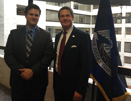 PreSonus Education Market Manager John Mlynczak (L) with Senator David Vitter (R-LA).
