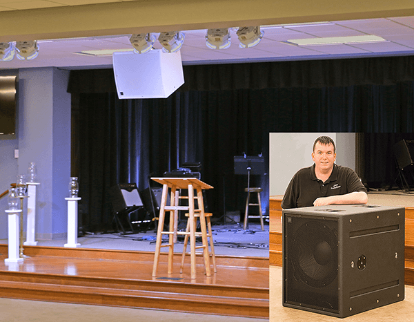 Justin Plaster in the Fellowship Hall at State Street United Methodist Church. Click for larger image.