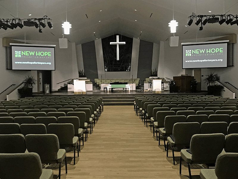 The sanctuary at New Hope Presbyterian Church (EPC). Click for larger image.
