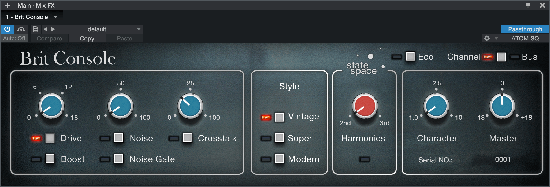 The Brit Console plug-in features three Style options: Vintage, Super, and Modern. Click for larger image.