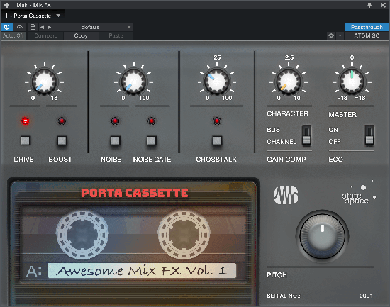 PreSonus' Porta Cassette Mix Engine Effects plug-in replicates the sonic signature of a classic four-track cassette recorder. Click for larger image.
