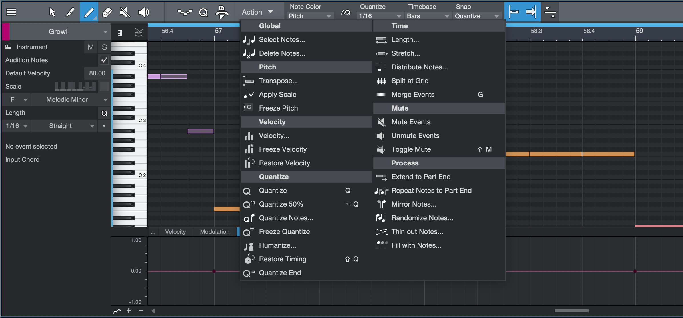 Studio One 4.5 Music Editor with Note Actions. Click for larger image.