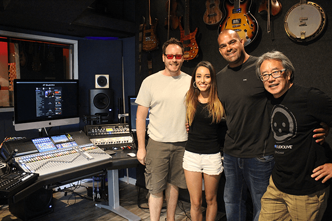 The Piano Store studio, L to R: Chris Horton, Lyra McCarmey, Ben Nieves, and Eric Chun. Click for larger image.