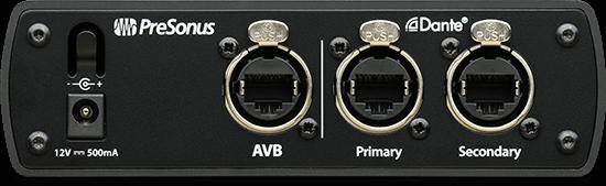 PreSonus AVB-D16 back panel. Click for larger image.