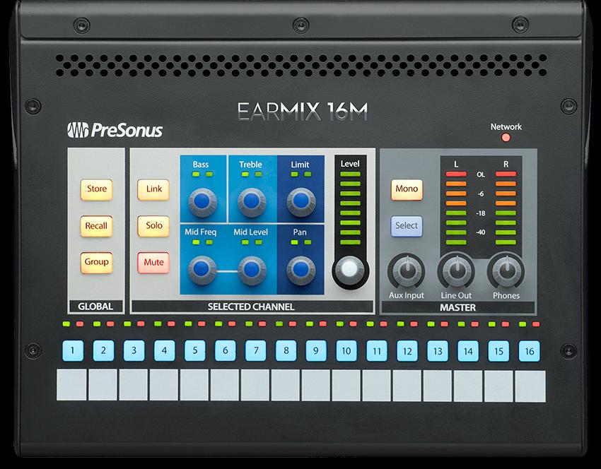 PreSonus EarMix 16M top view. Click for larger image.