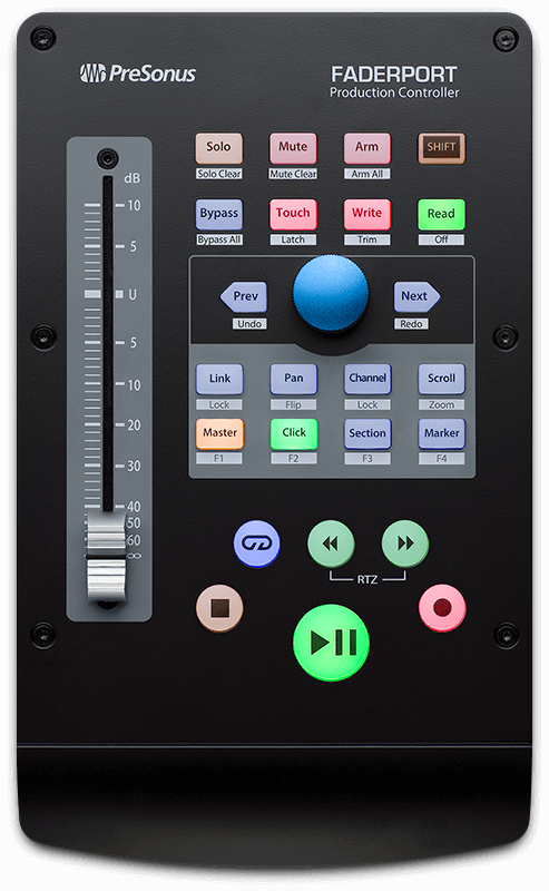 PreSonus FaderPort top view. Click for larger image.