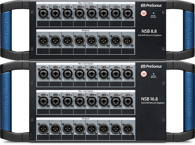PreSonus NSB 8.8 and 16.8 stage boxes. Click for larger image.