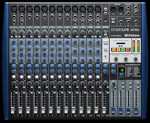 PreSonus StudioLive AR16c top view. Click for larger image.