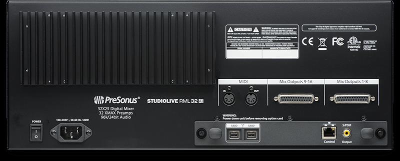 StudioLive RML32AI (rear). Click for larger image.