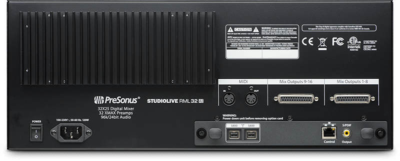 StudioLive RML32AI (rear). Click for larger image.