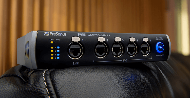 PreSonus SW5E AVB switch. Click for larger image.