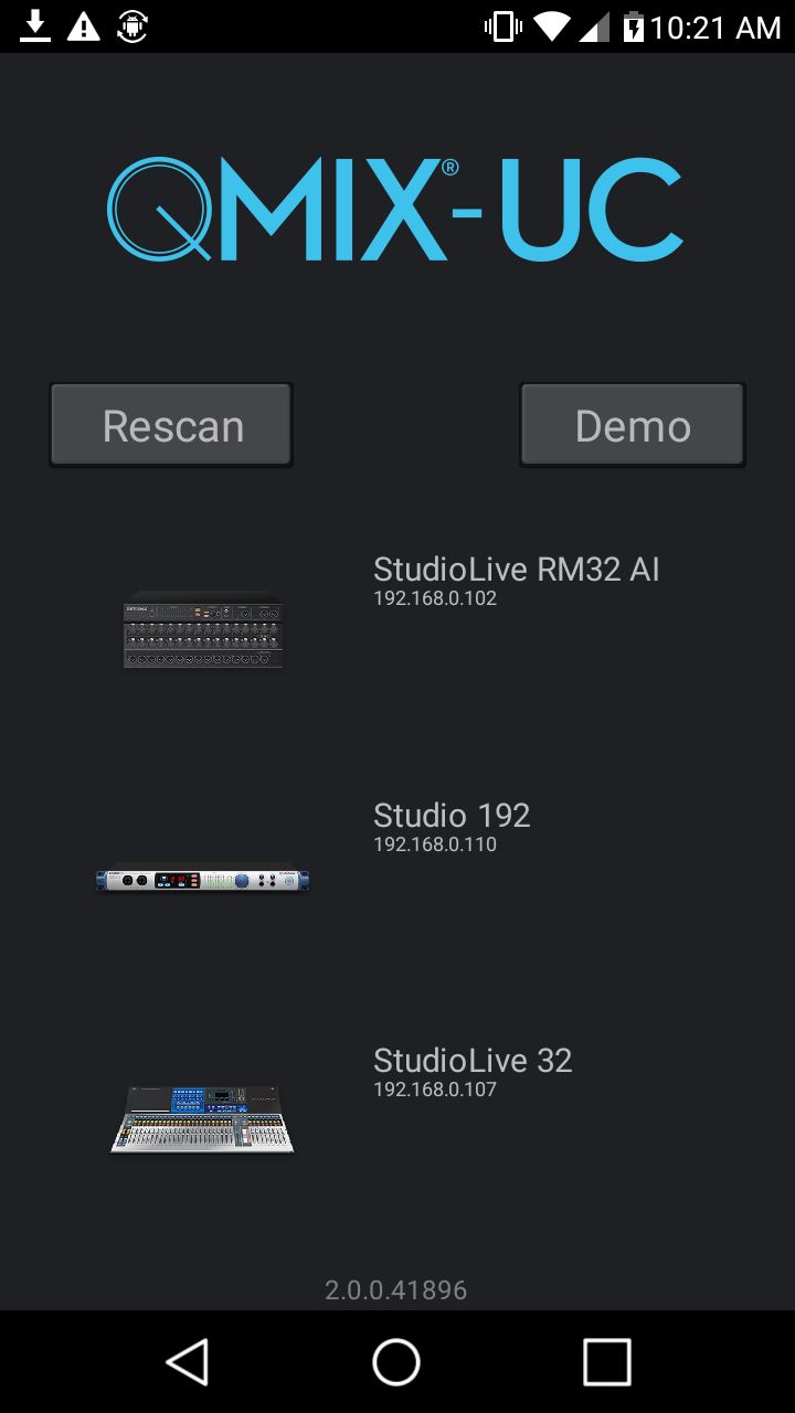 PreSonus QMix-UC for Android. Click to download image.