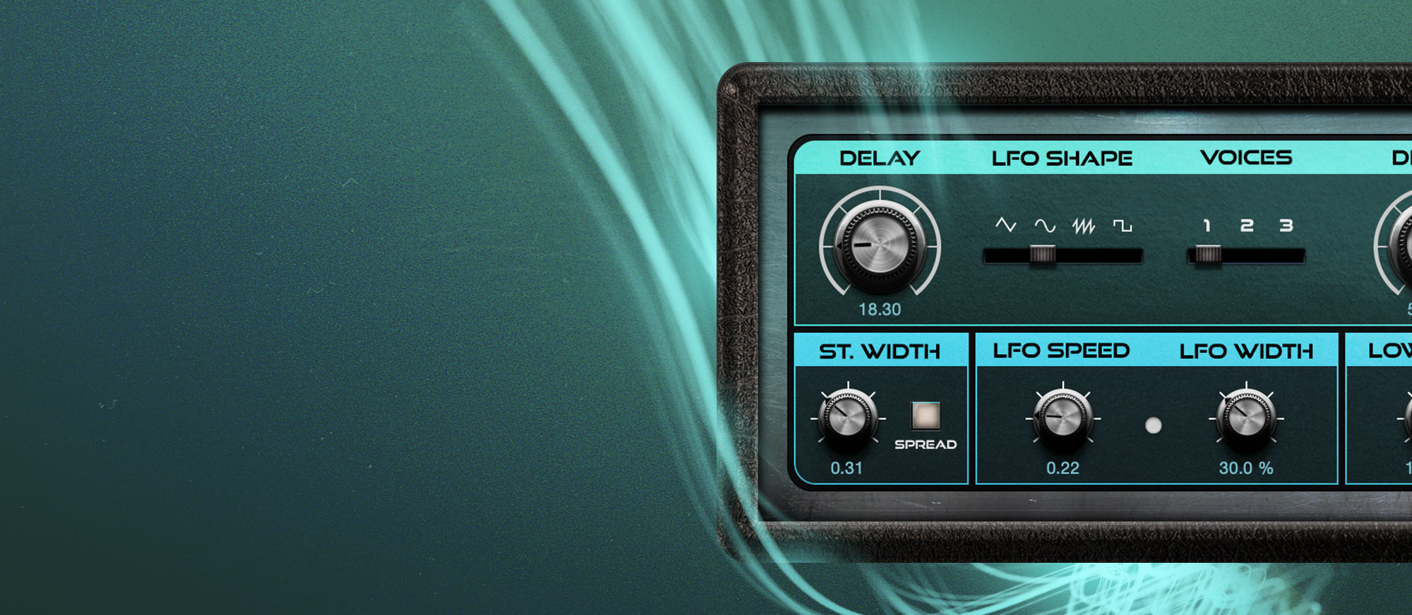 Chorus user interface surrounded by a light swirl