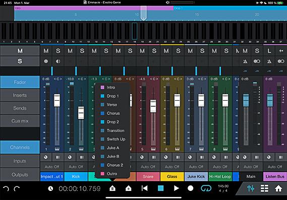 Mixer in Studio One Remote