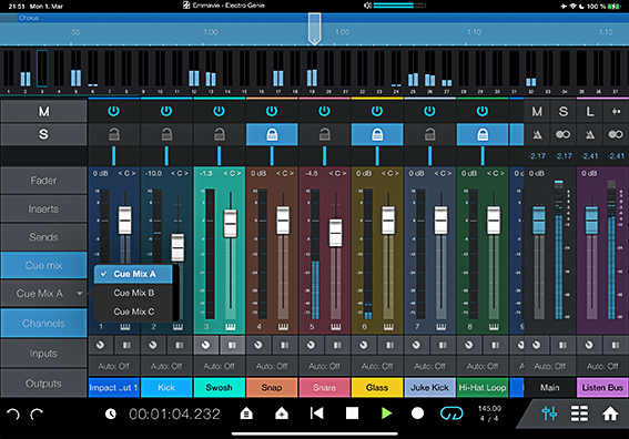 Cue Mix Controls in Studio One Remote