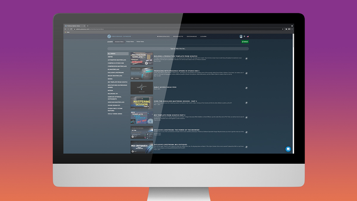 PreSonus Sphere Masterclass video library