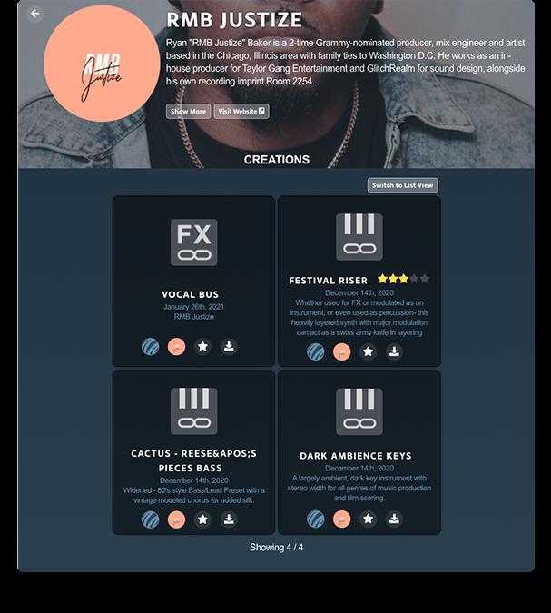 RMB JUSTIZE Artist Page in PreSonus Sphere