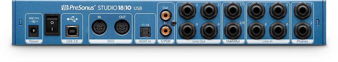 PreSonus Studio 18 10 rear view. Click for larger image.