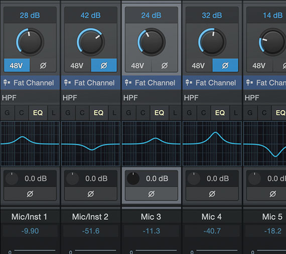 PreSonus Studio One Mixer section GUI screenshot
