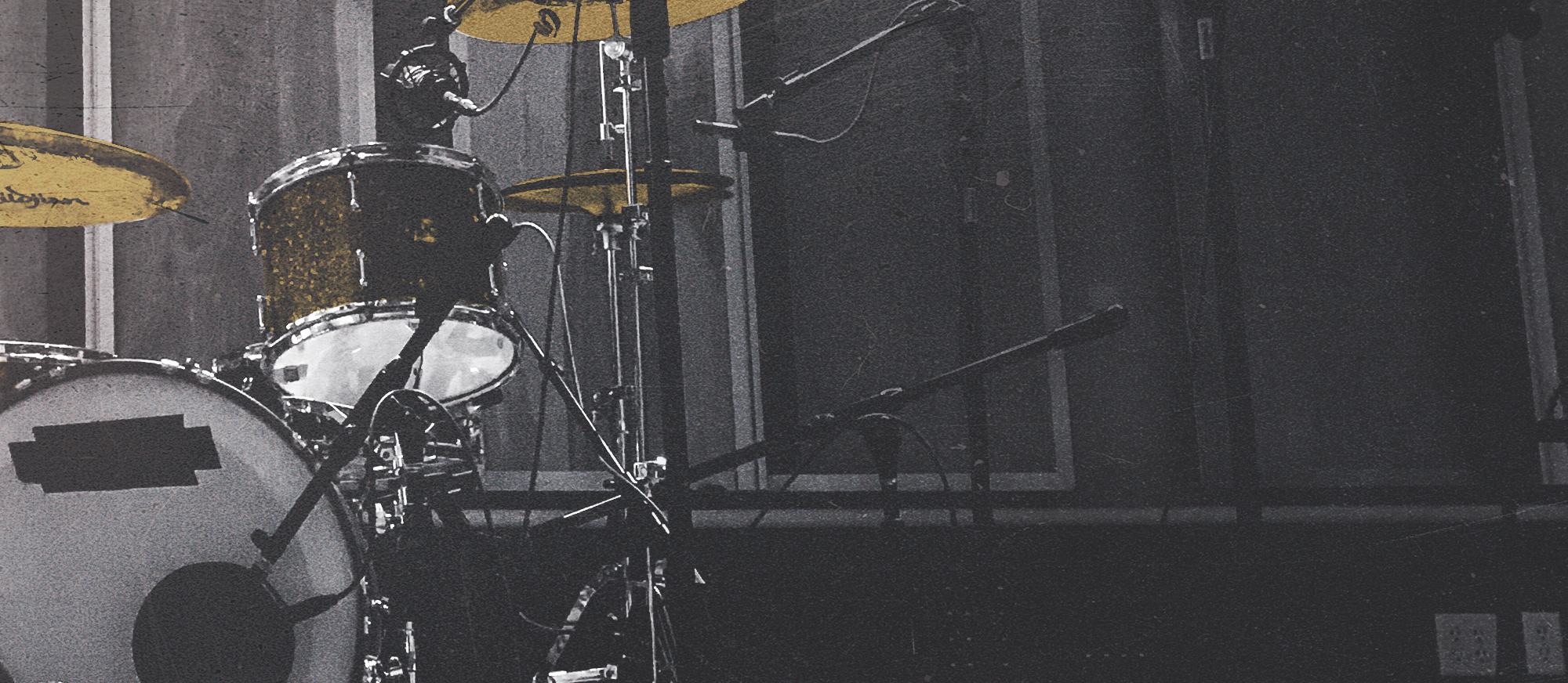 Drum kit in the live room at River City Studio